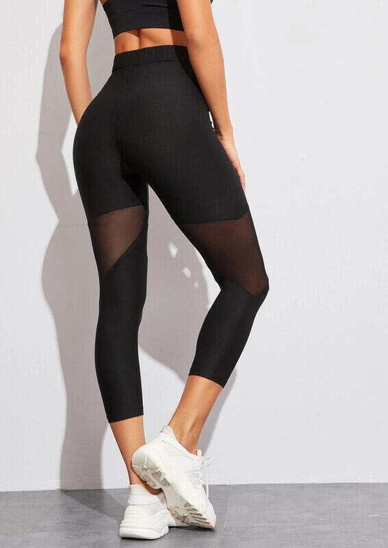 Activewear Mesh Splicing Yoga Fitness Activewear Leggings - Black. Size: S фото