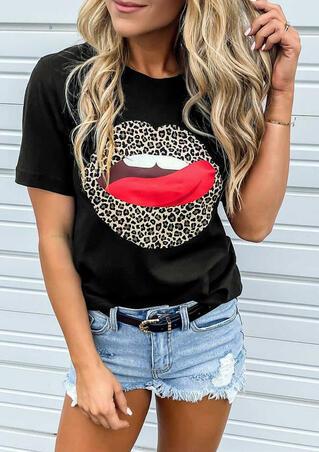 Leopard Printed Lips T-Shirt Tee - Black