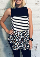 Summer Clothes Leopard Color Block Striped Splicing Tank