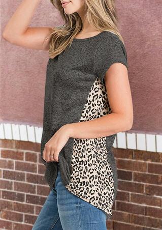 Presale - Leopard Printed Splicing T-Shirt Tee - Dark Grey