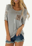 Summer Outfits Lace Splicing Sequined Pocket T-Shirt Tee