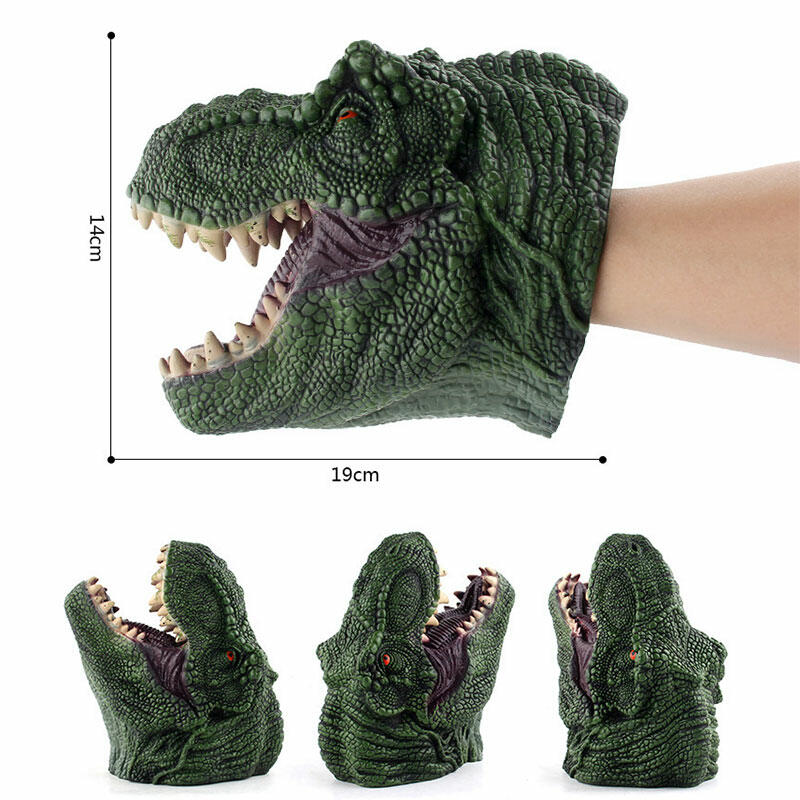 Realistic Soft Rubber Dinosaur Hand Puppet Toy фото