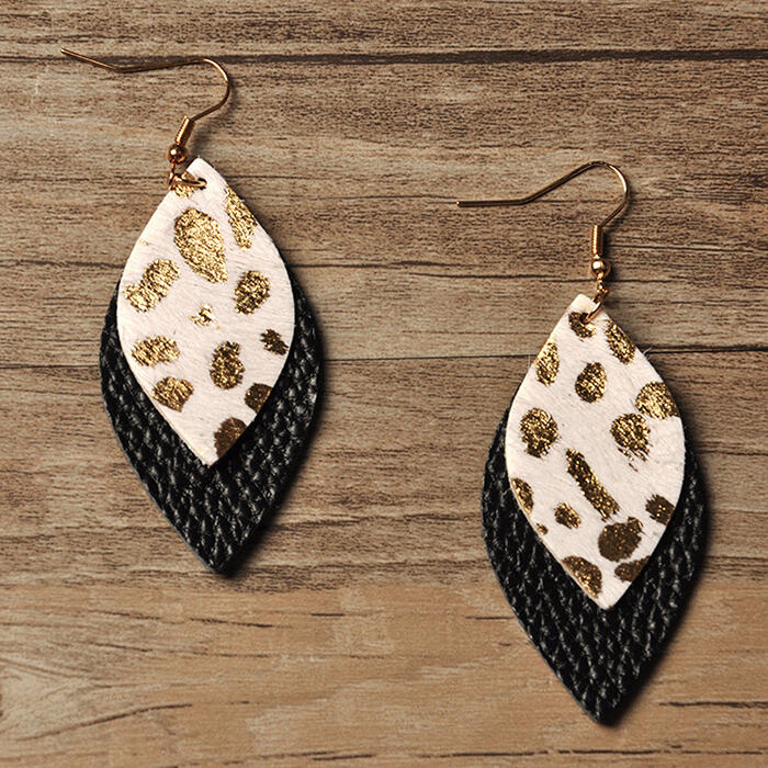 Fairyseason coupon: Leopard Double-Layered Leather Earrings
