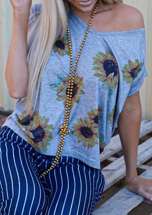 Blouses Sunflower Printed Blouse without Necklace - Gray. Size: S,M,L,XL фото