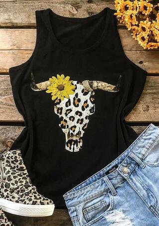Leopard Printed Splicing Sunflower Steer Skull Tank - Black
