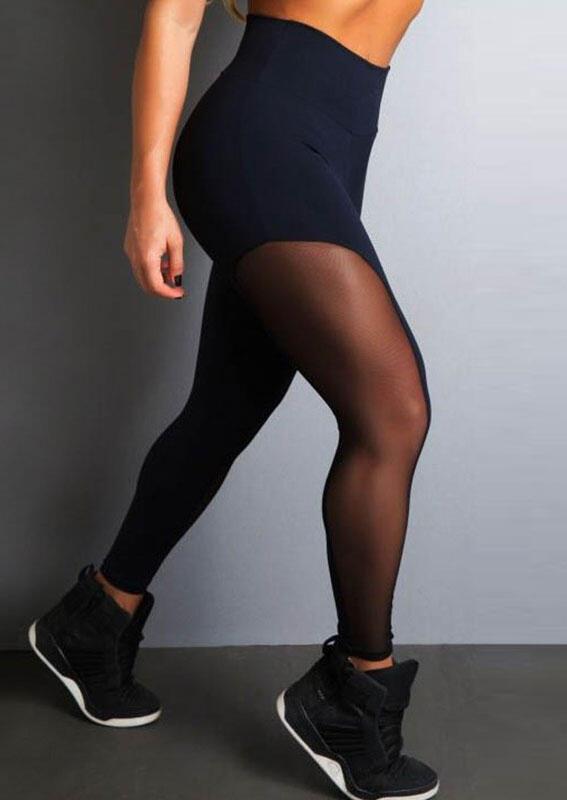 Activewear Mesh Splicing Yoga Sports Activewear Leggings in Black. Size: L фото