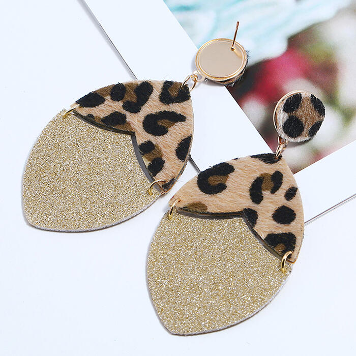 Earrings Leopard Sequined Splicing Earrings. Size: One Size фото