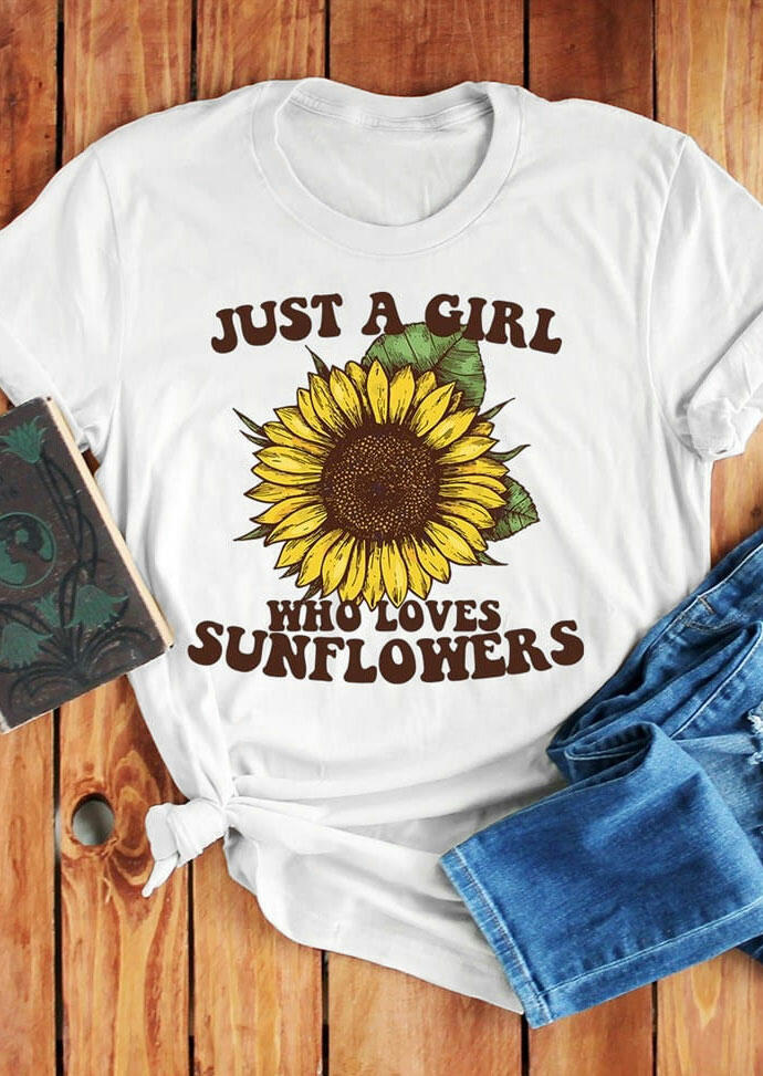 Tees T-shirts Just A Girl Who Loves Sunflowers T-Shirt Tee in White. Size: L фото