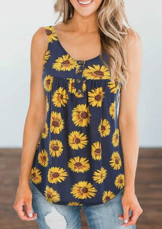 Presale - Sunflower Button Tank - Navy Blue