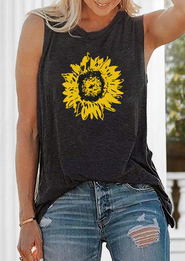 Sunflower Printed Tank Dark Grey