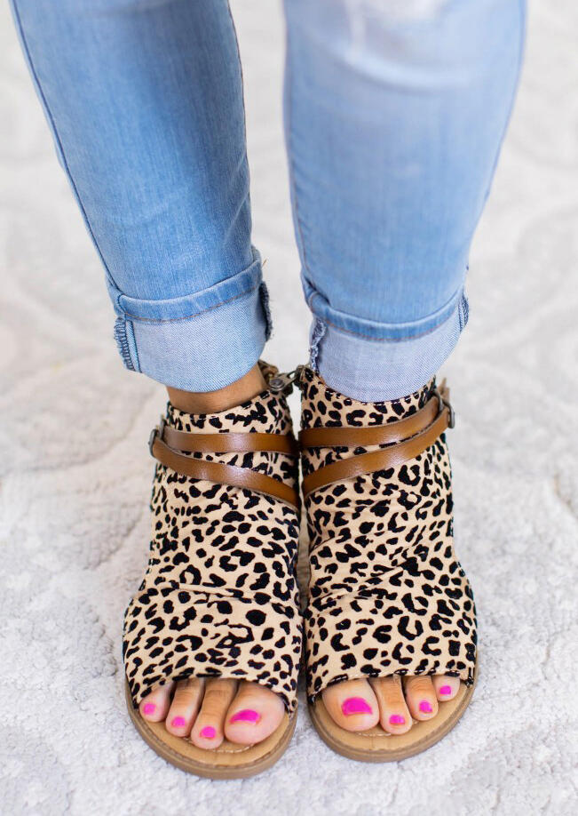 Leopard Printed Zipper Peep Toe Flat Sandals фото