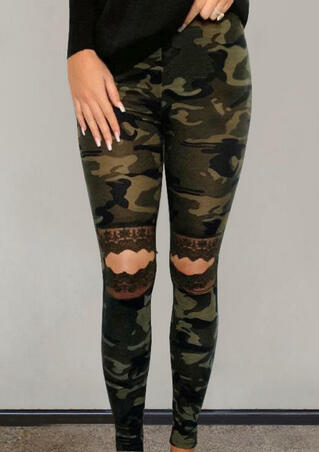 Presale - Camouflage Printed Lace Hollow Out Skinny Leggings