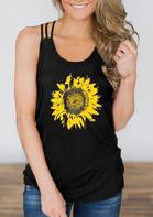 Sunflower Criss-Cross Hollow Out Tank - Black