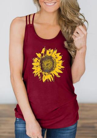 Sunflower Criss-Cross Hollow Out Tank - Burgundy