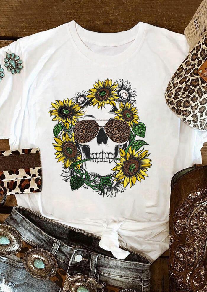 Sunflower Leopard Skull T-Shirt Tee - White фото