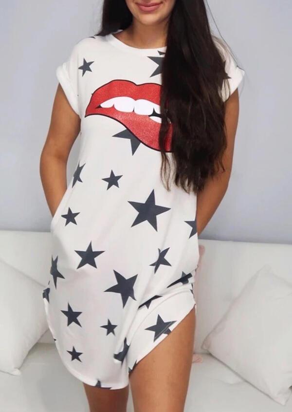 Lips Star Mini Dress - White фото