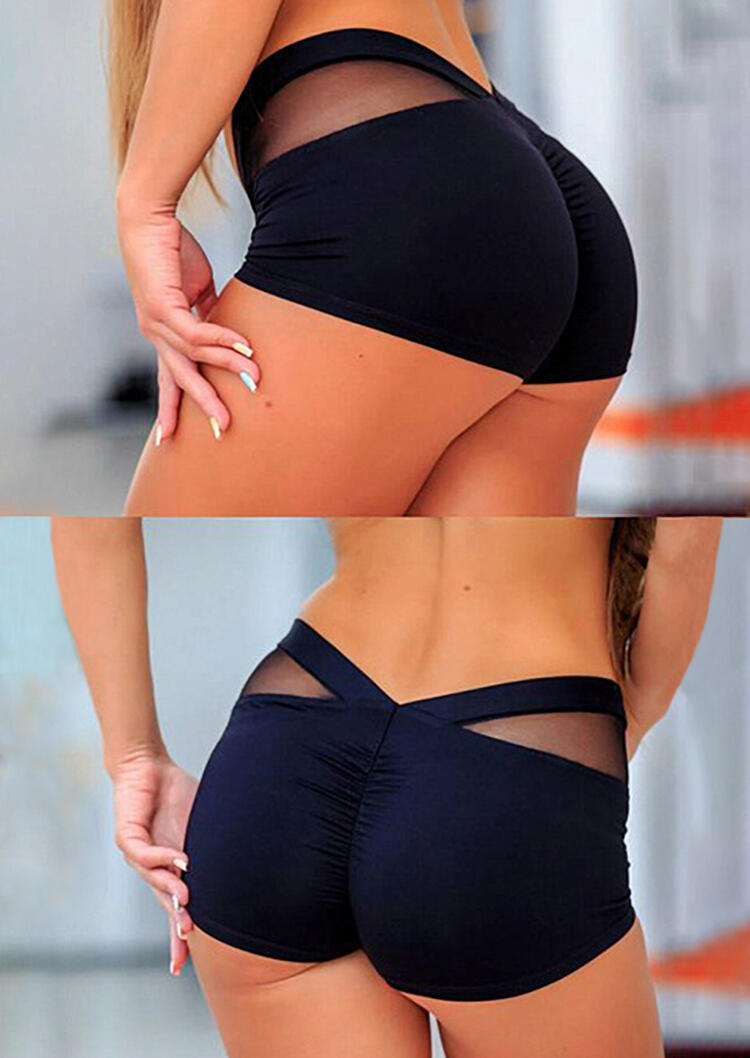 Mesh Splicing Yoga Sports Activewear Shorts - Black фото