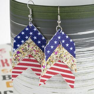 American Flag Star Sequined Splicing Earrings