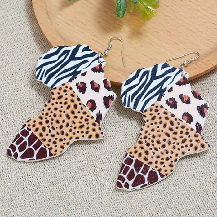 Leopard Splicing Wooden Earrings фото