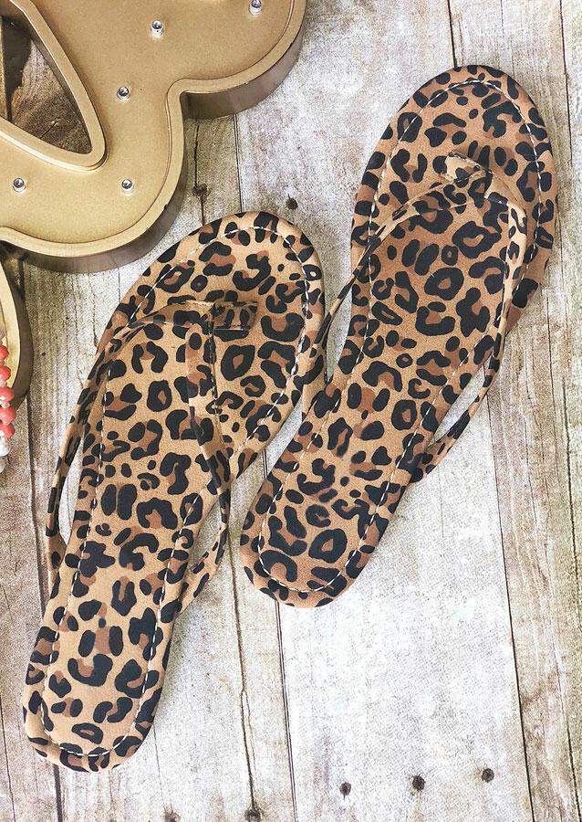 Leopard Flat Flip Flop Sandals фото