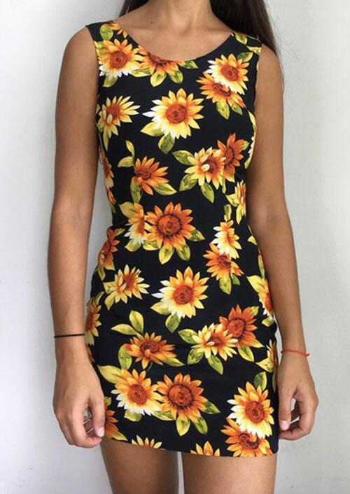 Sunflower O-Neck Sleeveless Mini Dress - Black фото