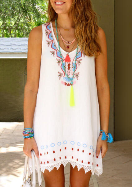 Mini Dresses Lace Splicing Printed Mini Dress without Necklace in White. Size: L фото