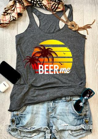 Beer Me O-Neck Casual Tank - Dark Grey