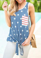 Summer Outfits Casual American Flag Star Pocket Tank