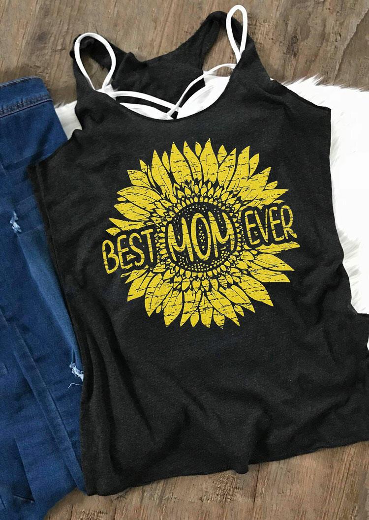 Sunflower Best Mom Ever Tank - Black фото