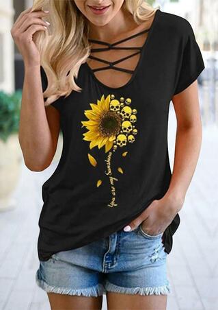 Presale - Sunflower Skull You Are My Sunshine T-Shirt Tee - Black