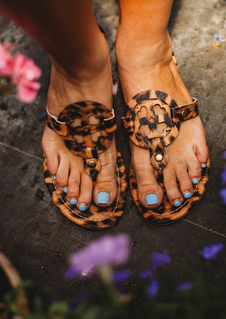 Leopard Hollow Out Flat Sandals фото