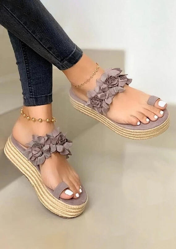 Slippers Flower Round Toe Platform Slippers. Size: 37,38,39,40,41 фото