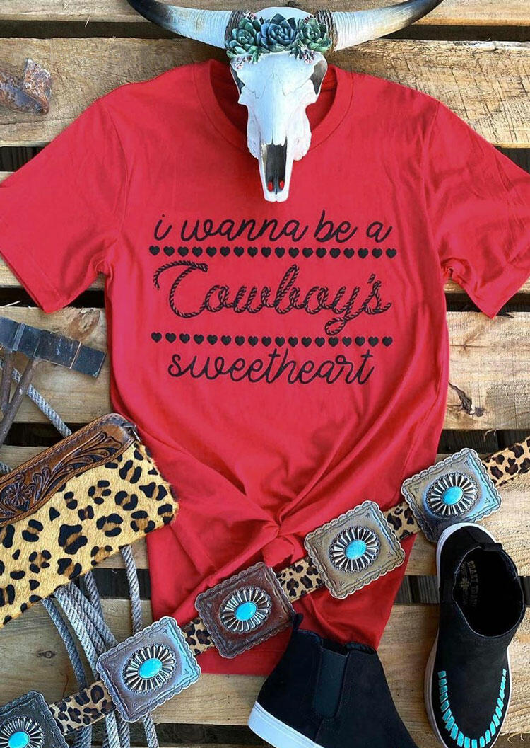 Tees T-shirts I Wanna Be A Cowboy's Sweetheart T-Shirt Tee in Red. Size: L фото