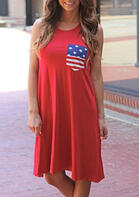American Flag Star Pocket Mini Dress