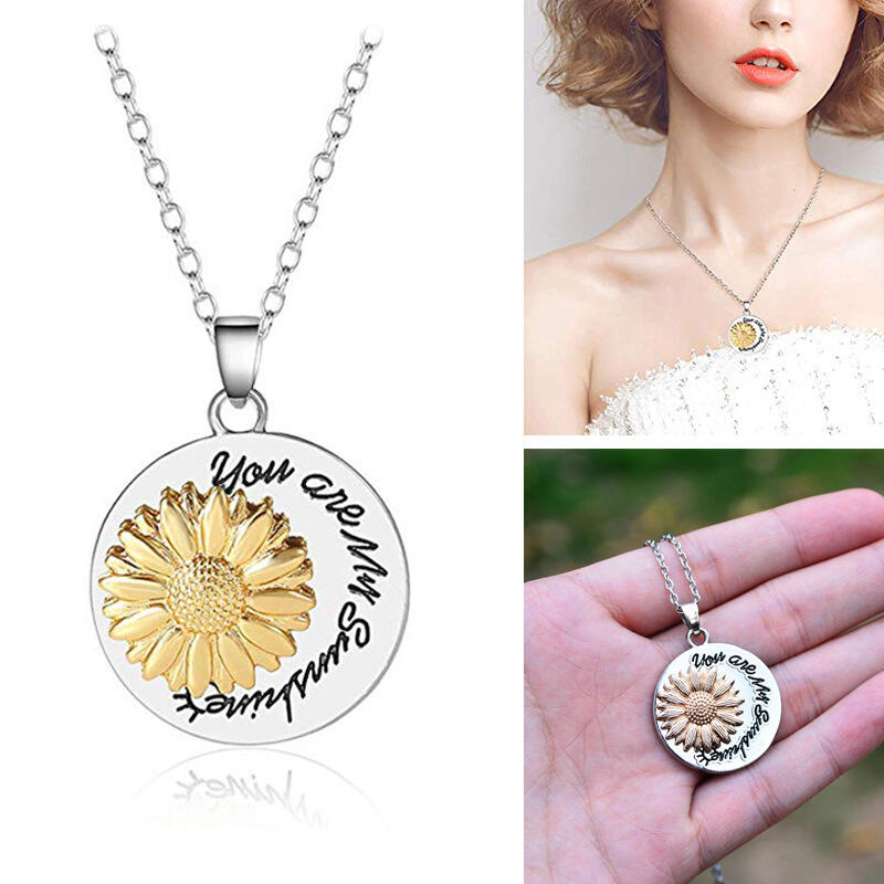 Sunflower You Are My Sunshine Pendant Necklace фото