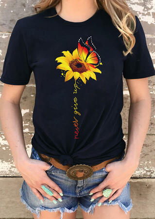 Presale - Sunflower Butterfly Never Give Up T-Shirt Tee - Black