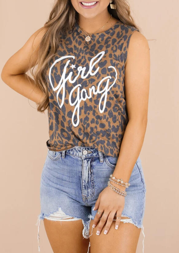 Tank Tops Girl Gang Star Leopard Tank without Necklace in Leopard. Size: L фото