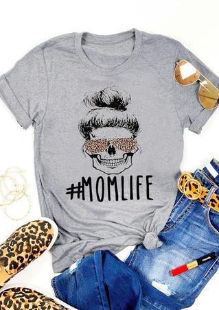 Mom Life Leopard T-Shirt Tee - Gray