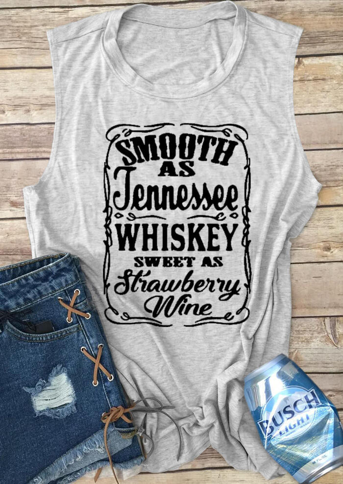 Tank Tops Smooth As Tennessee Whiskey Sweet As Strawberry Wine Tank - Light Grey. Size: S,M,L,XL фото