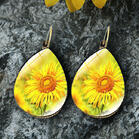 Sunflower Water Drop Shaped Earrings