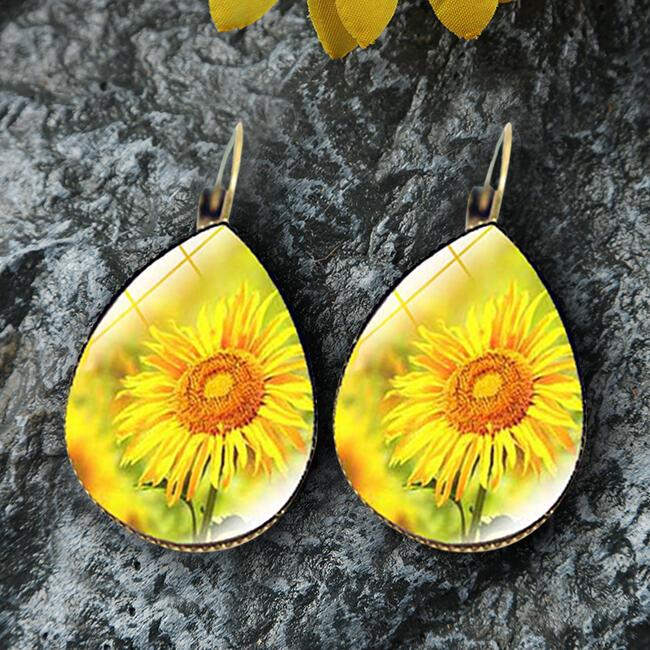 Earrings Sunflower Water Drop Shaped Earrings in Pattern1,Pattern2. Size: One Size фото