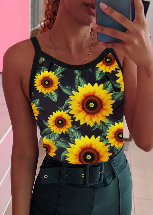 Tank Tops Presale - Sunflower Camisole without Necklace - Black. Size: S,M,,XL