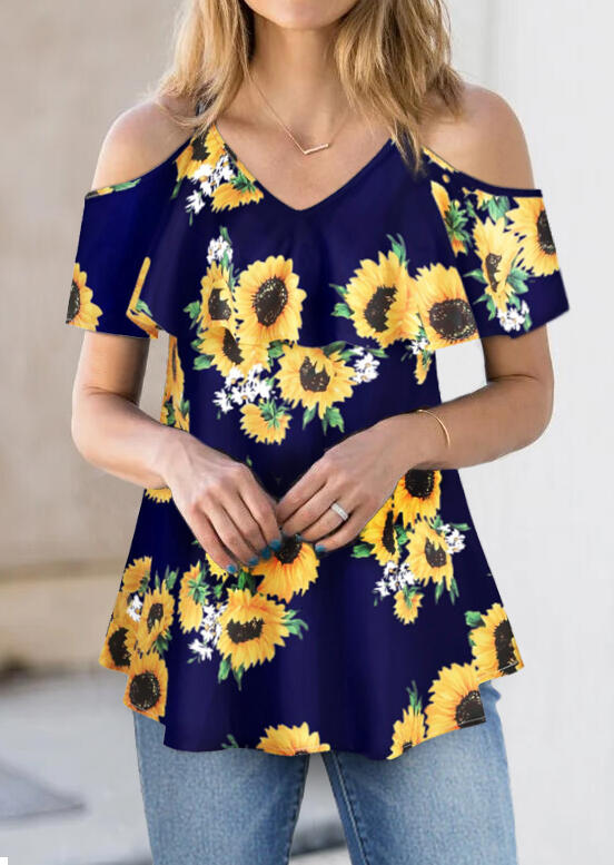Sunflower Cold Shoulder Blouse without Necklace - Navy Blue фото