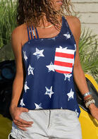 Summer Outfits Casual Pocket American Flag Star Tank