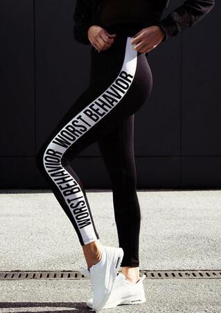 Worst Behavior Yoga Fitness Activewear Leggings - Black