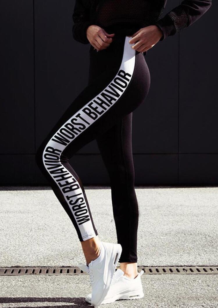 Activewear Worst Behavior Yoga Fitness Activewear Leggings - Black. Size: XL фото