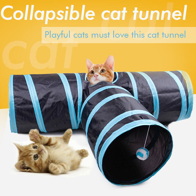 Pet Products Foldable T-shape Cat Tunnel Pet Toy with Hanging Pompon. Size, Blue