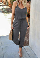 Drawstring Pocket Spaghetti Strap Jumpsuit without Necklace - Gray