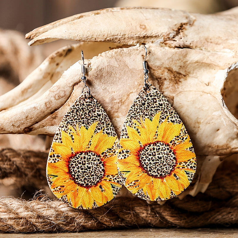 Sunflower Leopard Leather Earrings фото