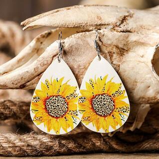Sunflower Leopard Leather Earrings